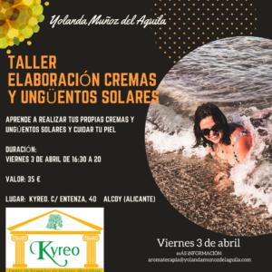 Taller Elaboración Cremas y Ungüentos Solares @ Kyreo